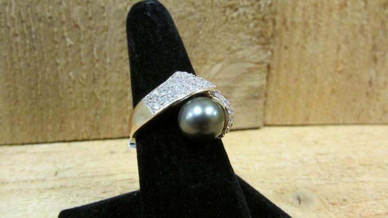 Synthetic Pearl Lady's Stone & Diamond Ring 40 Diamonds 1.60 Carat T.W.