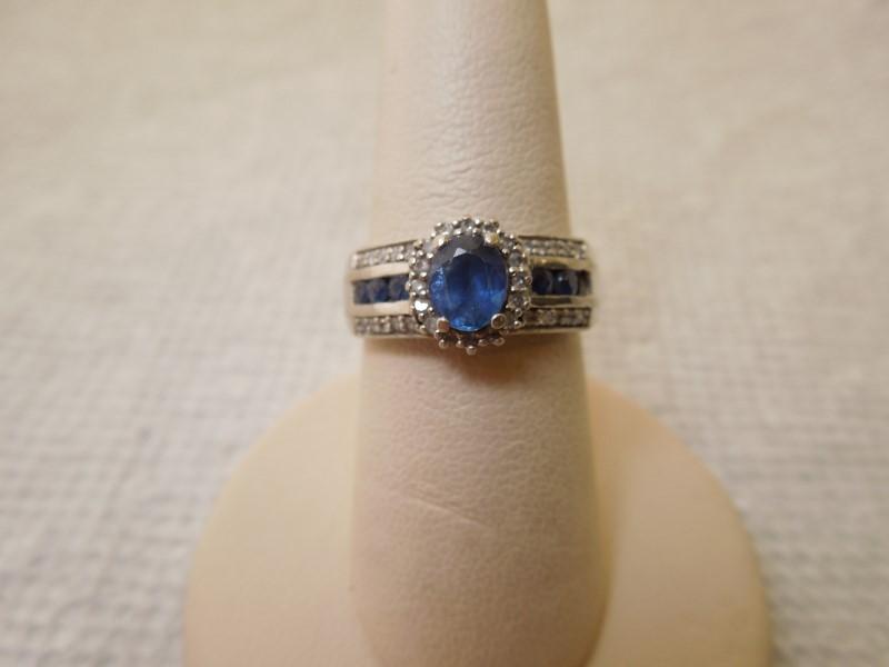 Synthetic Sapphire Lady's Stone & Diamond Ring 32 Diamonds .64 Carat T.W.