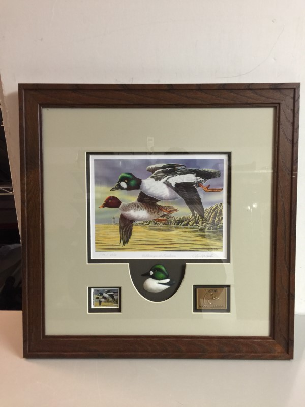 MICHIGAN DUCKS UNLIMITED GOLDENEYES AT SUNDOWN FRAMED STAMP PRINT