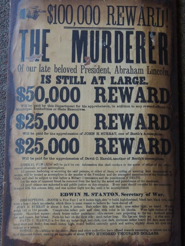 "Lincoln Assassination Booth Wanted Reward Civil War Poster Wood Reprint 11""/22"""