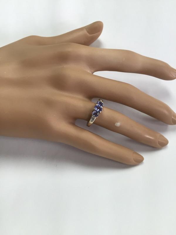 DIAMOND & TANZANITE PAST PRESENT FUTURE 14K WHITE GOLD RING SIZE 6.75