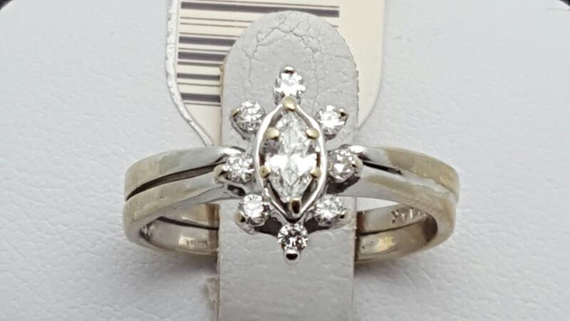 Lady's Diamond Wedding Set 9 Diamonds .16 Carat TW. 14K White Gold 3.9g Size:6.5