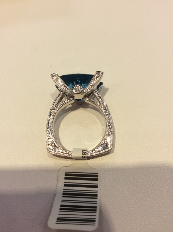 Blue Topaz Lady's Stone & Diamond Ring 14 Diamonds .14 Carat T.W.