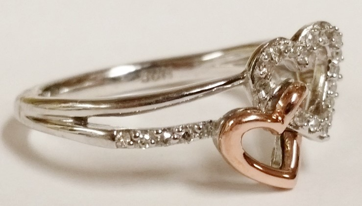 Sterling Silver, 10K Rose Gold & Diamond Double Heart Ring s. 6