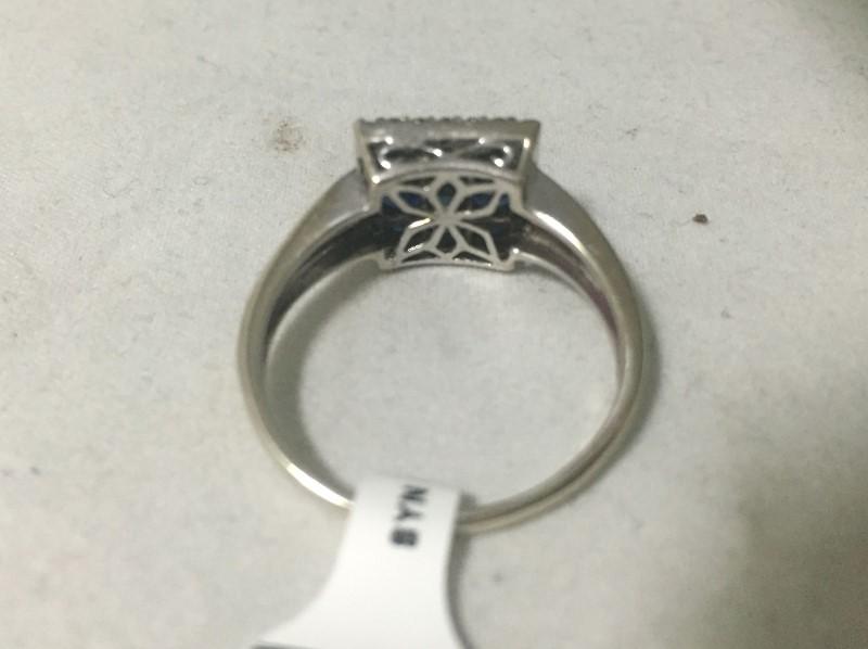 Synthetic Sapphire Lady's Stone & Diamond Ring 24 Diamonds .24 Carat T.W.