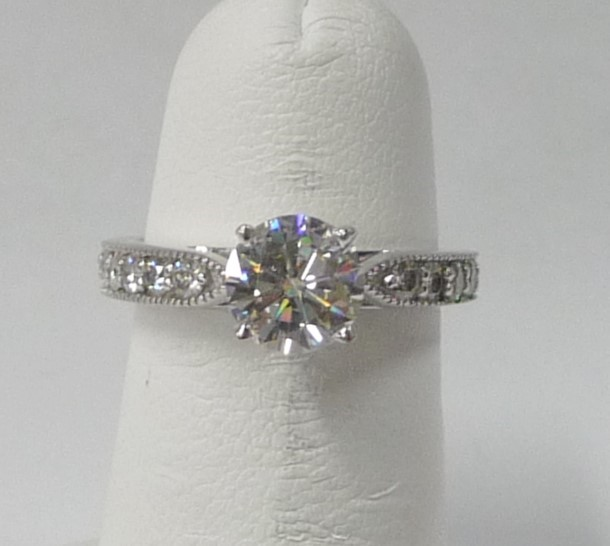 Synthetic Moissanite Lady's Engagement Ring 14K White Gold 2.51dwt
