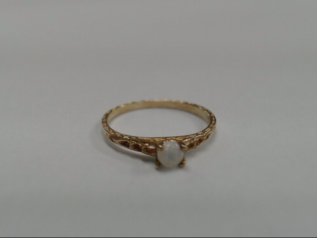 Opal Lady's Stone Ring 10K Yellow Gold 0.56g Size:3