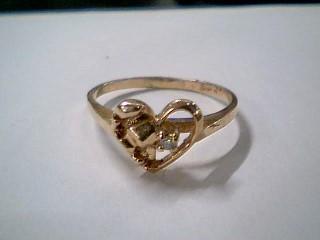 Lady's Diamond Fashion Ring .01 CT. 14K Yellow Gold 1.7g Size:7.5