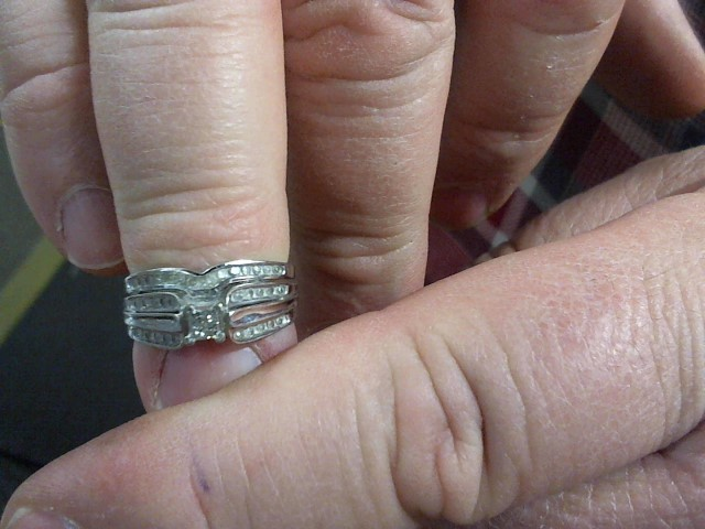 Lady's Diamond Wedding Set 9 Diamonds .09 Carat T.W. 10K White Gold 3.9g