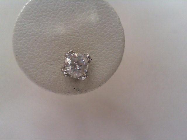 Gold-Diamond Earrings 42 Diamonds .86 Carat T.W. 14K White Gold 1.1g