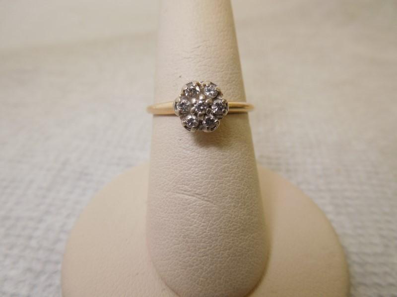 Lady's Diamond Cluster Ring 7 Diamonds .14 Carat T.W. 14K Yellow Gold 2.1g