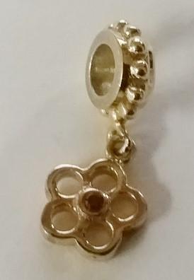 Sterling Silver Gold Toned Flower Dangle European Charm