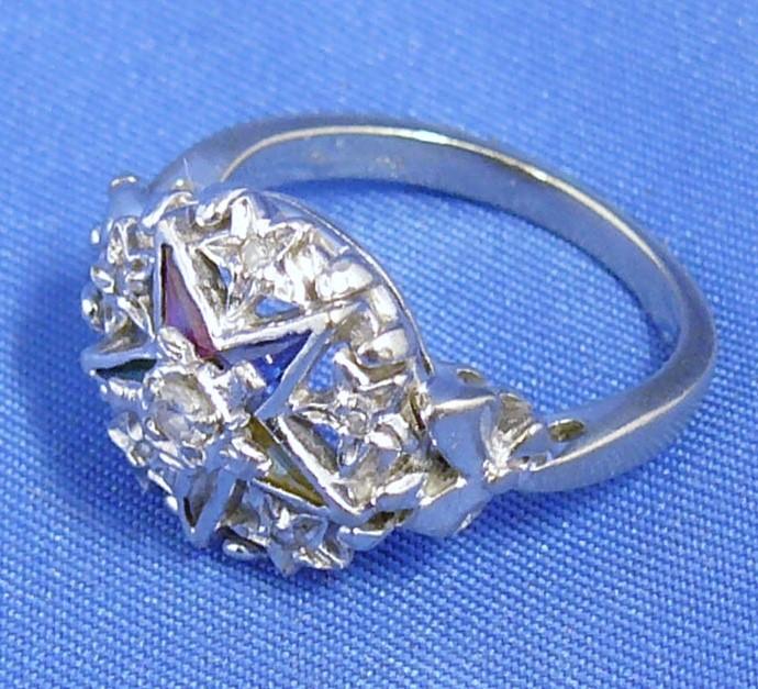 Vintage Order of the Eastern Star Diamonds & Gemstones Ladies Masonic 14K Ring