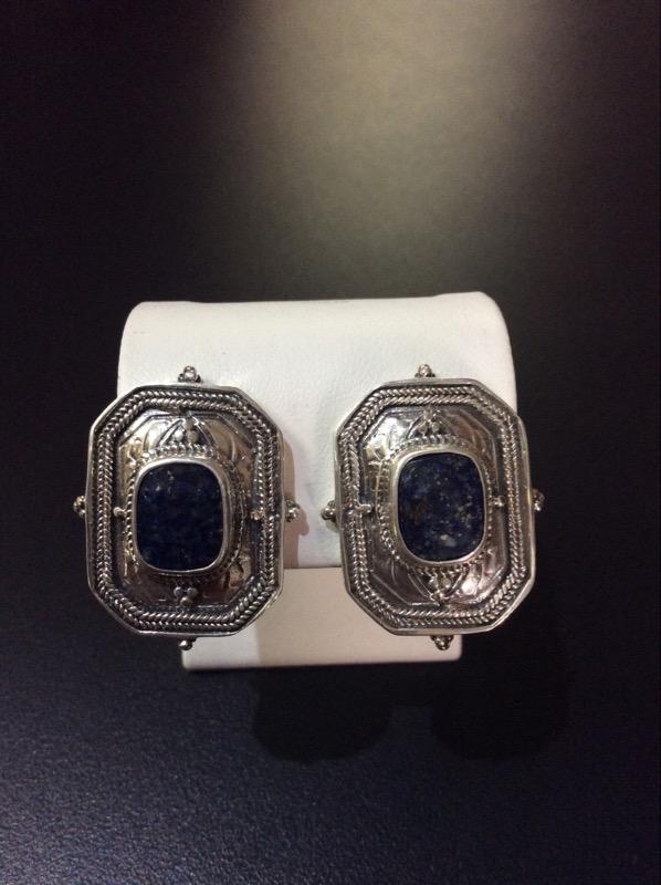Black Stone Silver-Stone Earrings 925 Silver 17.4g