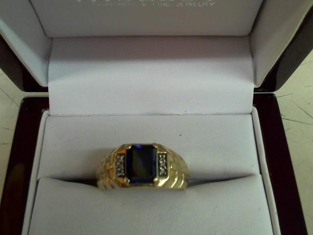 Synthetic Agate Gent's Stone & Diamond Ring 6 Diamonds .06 Carat T.W.