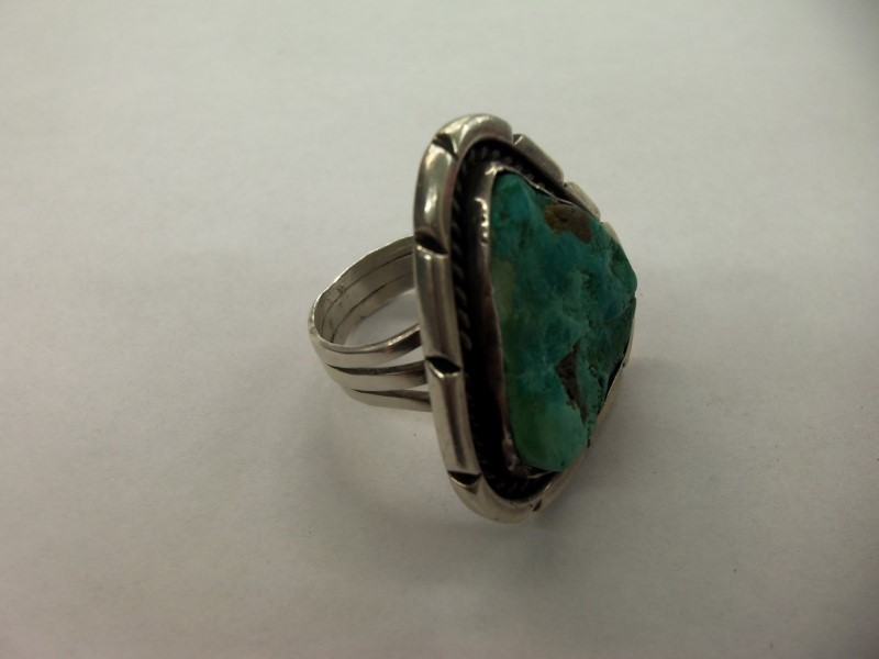 Turquoise Gent's Silver & Stone Ring 925 Silver 18.8g Size:12