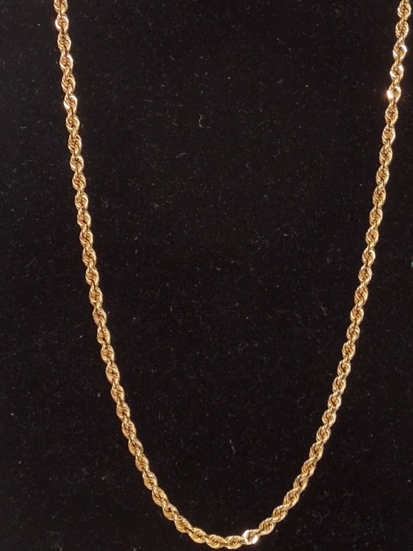 """20"""" Gold Rope Chain 14K Yellow Gold 5.9g"""