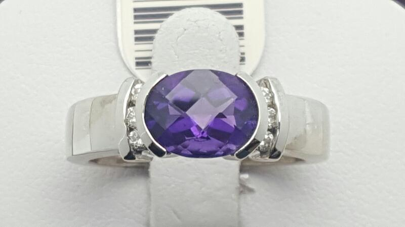 Amethyst Lady's Stone & Diamond Ring 7 Diamonds .14 Carat T.W. 14K White Gold