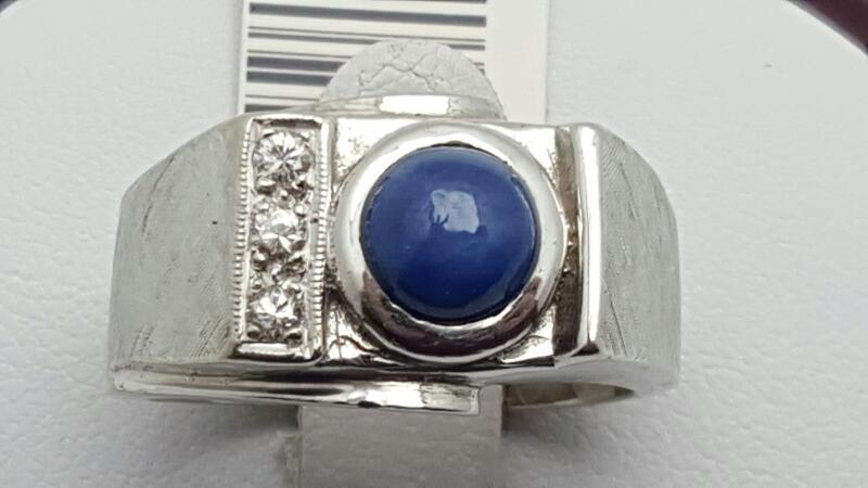 Synthetic Star Sapphire Gent's Stone & Diamond Ring 3 Diamonds .12 Carat T.W.