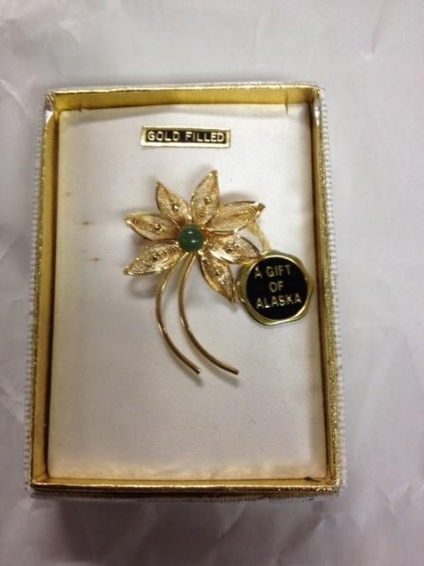 ALASKA GOLD FILLED AND JADE IN FLOWER BROOCH