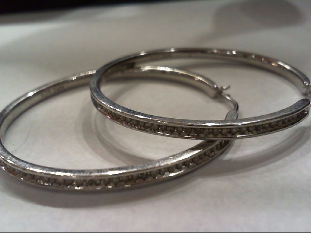 Silver-Diamond Earrings 84 Diamonds .420 Carat T.W. 925 Silver 14.1g
