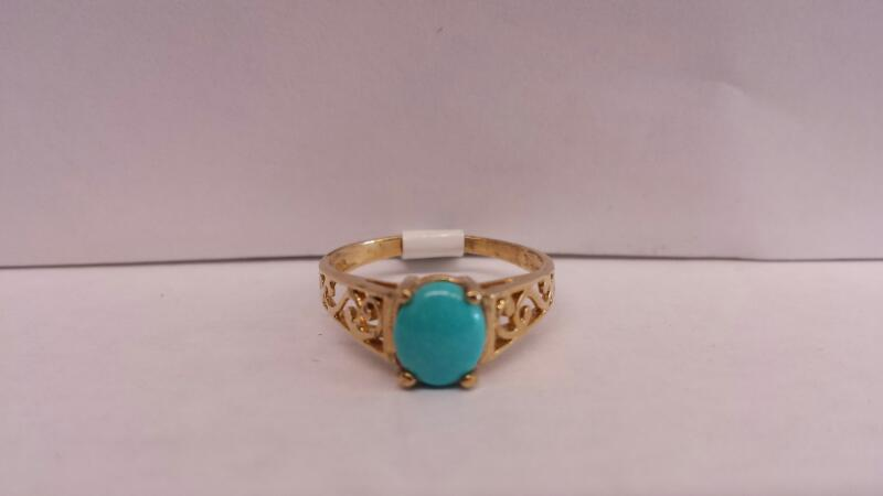 10k Yellow Gold Ring with 1 Teal Oval Stone
