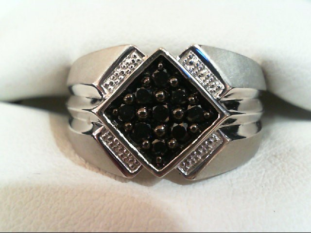 Gent's Silver-Diamond Ring 9 Diamonds .36 Carat T.W. 925 Silver 6.3g