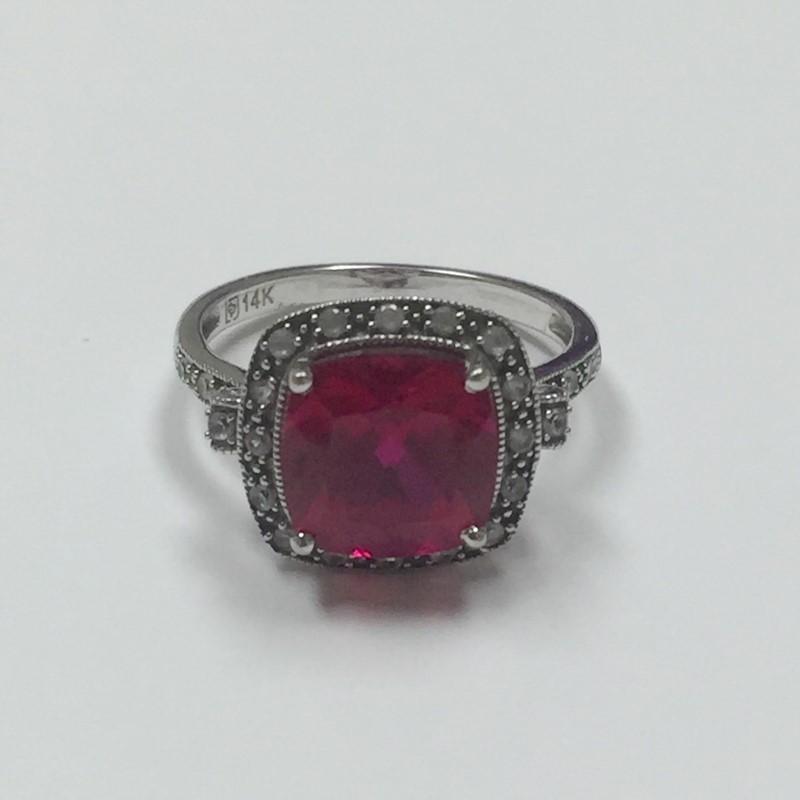Synthetic Ruby Lady's Stone & Diamond Ring 24 Diamonds .24 Carat T.W.