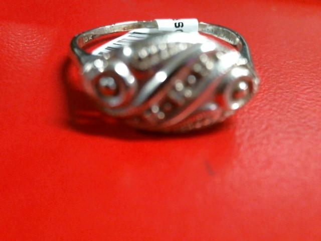 Lady's Diamond Fashion Ring 3 Diamonds .03 Carat T.W. 10K White Gold 2.39g