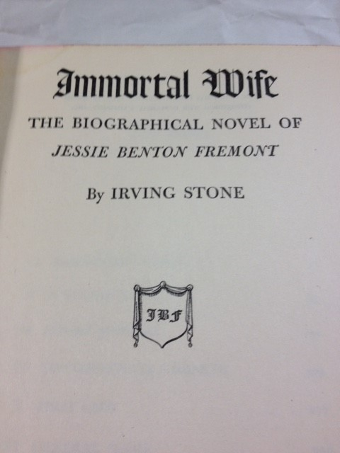 IMMORTAL WIFE IRVING STONE1944