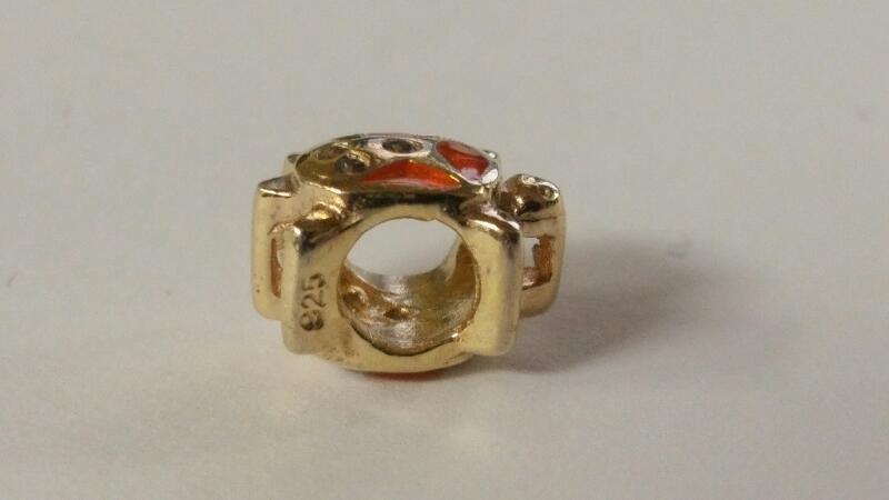Sterling Silver & Orange Enamel Gold Toned European Turtle Bead Charm