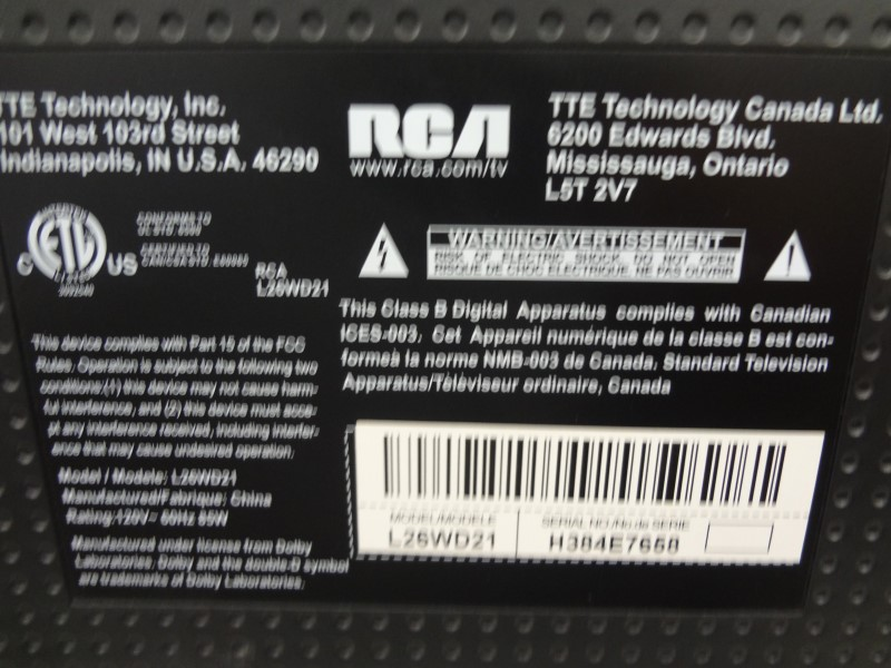 """RCA L26WD21 26"""" LCD 720P HDTV WITH REMOTE"""