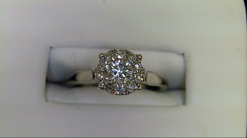 Lady's Diamond Engagement Ring 11 Diamonds .40 Carat T.W. 14K White Gold 3.35g