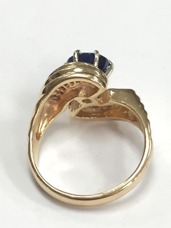 SAPPHIRE & DIAMOND MODERN 14K YELLOW GOLD RING SIZE 7