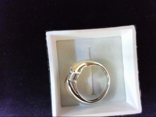 Red Stone Lady's Stone & Diamond Ring 4 Diamonds .04 Carat T.W. 10K White Gold