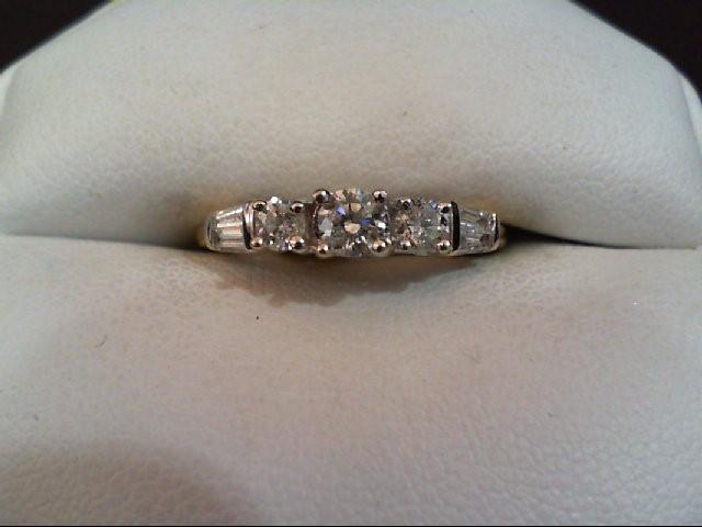 Lady's Diamond Wedding Band 7 Diamonds .59 Carat T.W. 14K 2 Tone Gold 2.8g
