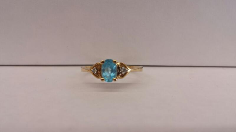 14k Yellow Gold Ring with Teal Oval Stone and 2 Diamond Chips