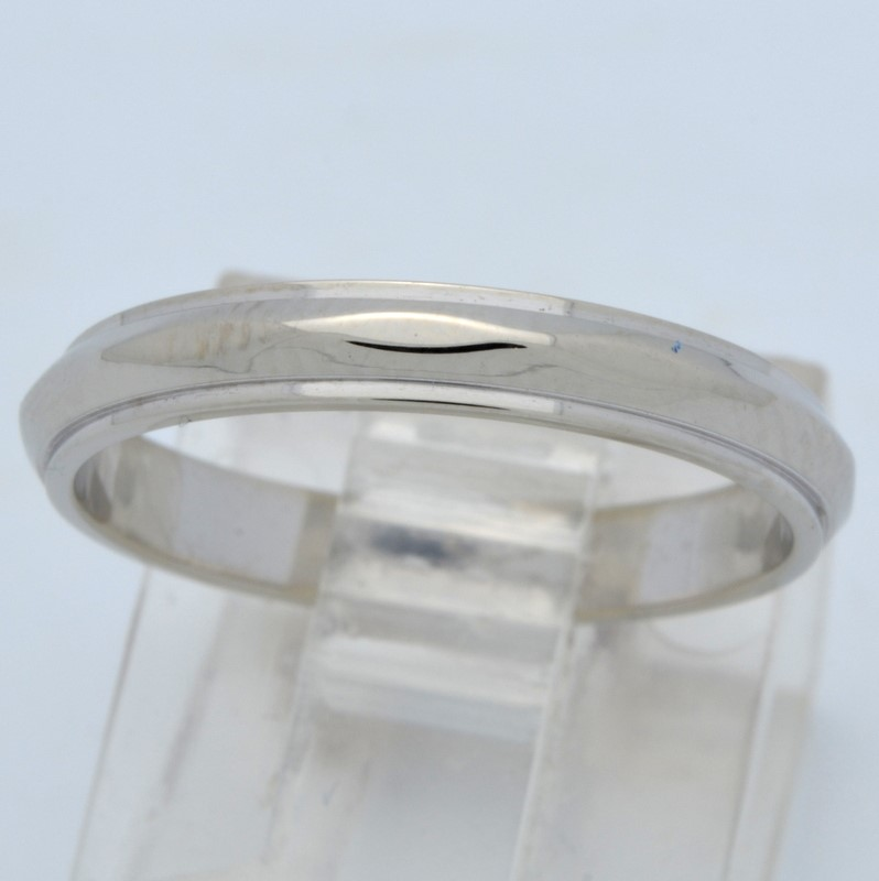 ESTATE WEDDING RING 3MM BAND SOLID 14K WHITE GOLD DIAMOND CUT SIZE 6