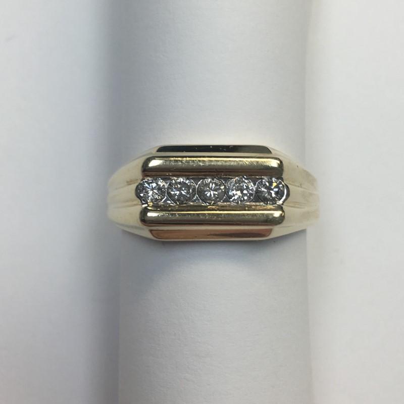 Gent's Diamond Fashion Ring 5 Diamonds .50 Carat T.W. 14K Yellow Gold 4.2dwt