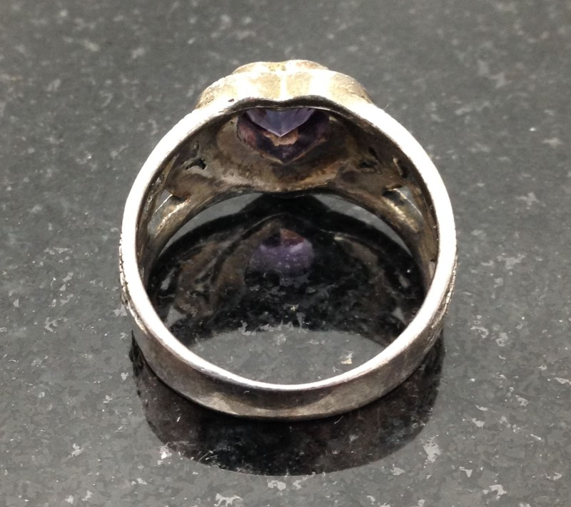 Lady's Sterling Silver Purple Heart Ring Size 9