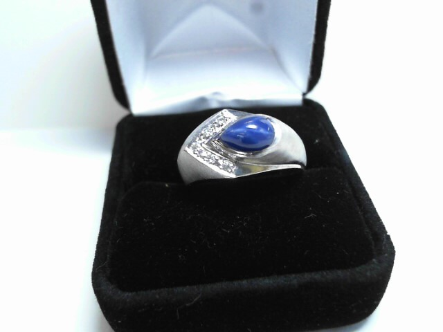 Synthetic Star Sapphire Gent's Stone & Diamond Ring 5 Diamonds .15 Carat T.W.
