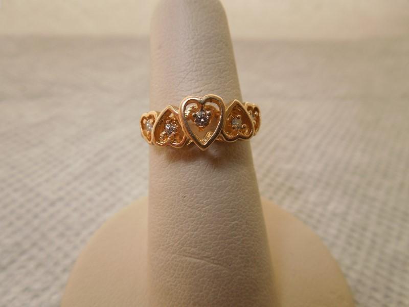 Lady's Diamond Fashion Ring 5 Diamonds .10 Carat T.W. 14K Yellow Gold 3g