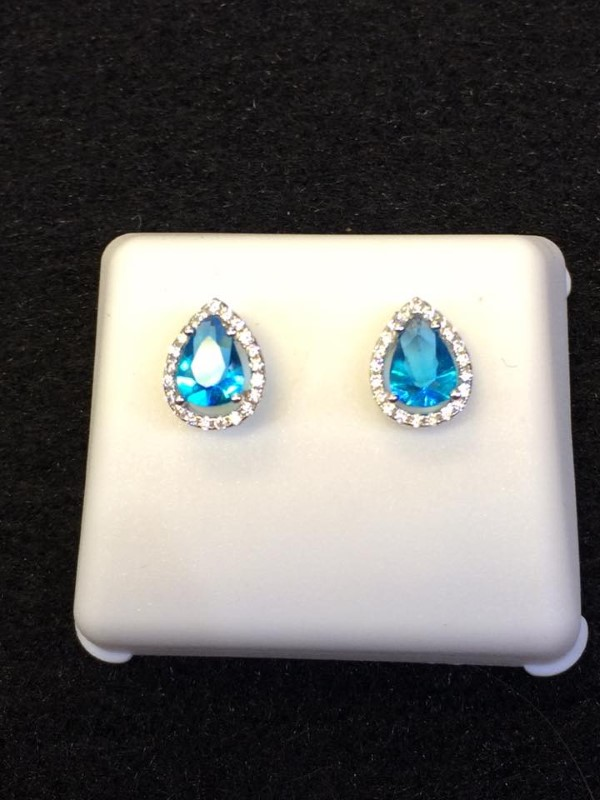 Blue Stone Silver-Stone Earrings 925 Silver 1.6g