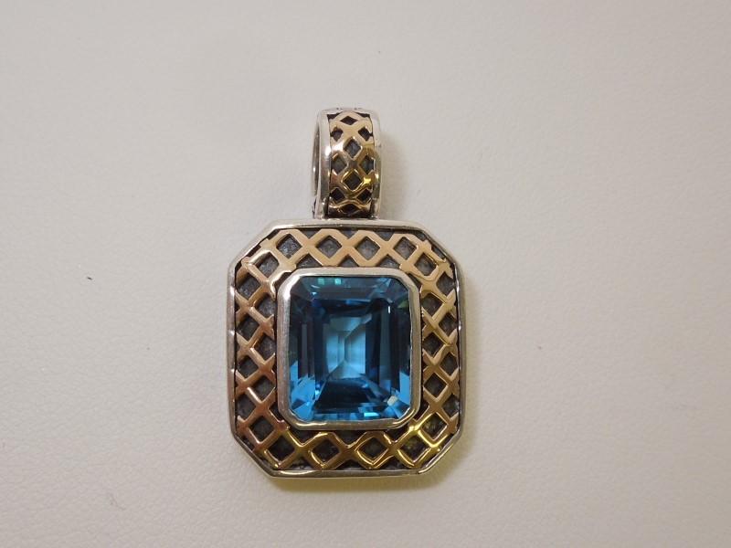 Synthetic Aquamarine Silver-Stone Pendant 925 Silver 10g