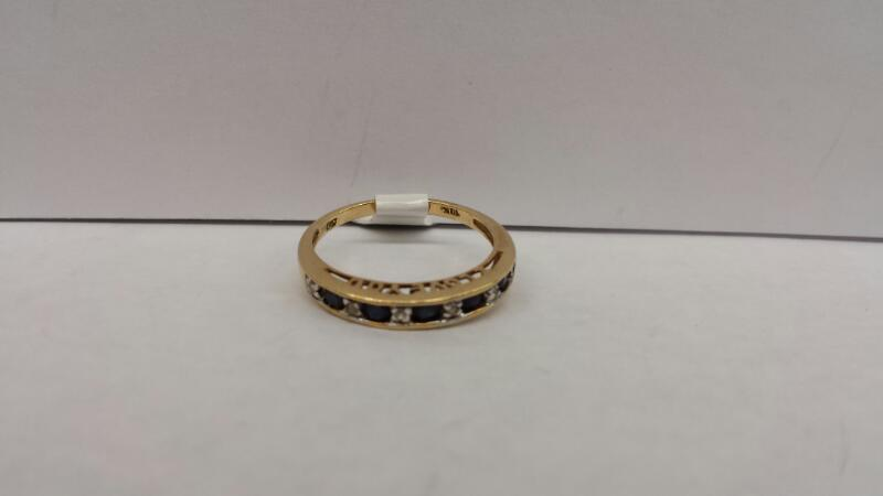 10k Yellow Gold Ring with 5 Blue Stones and 5 Clear Stones