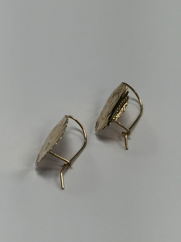 10K Yellow Gold Intricate Leaf Earrings