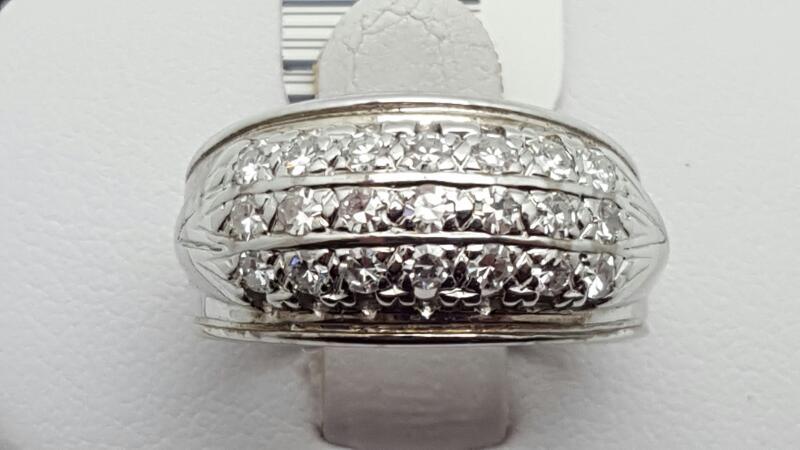 Lady's Diamond Cluster Ring 21 Diamonds .63 Carat T.W. 14K White Gold 5g
