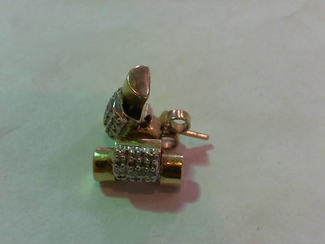 Gold-Diamond Earrings 18 Diamonds .18 Carat T.W. 14K Yellow Gold 3.5g