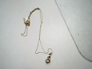 Yellow Stone Diamond & Stone Necklace .01 CT. 10K Yellow Gold 1.2g