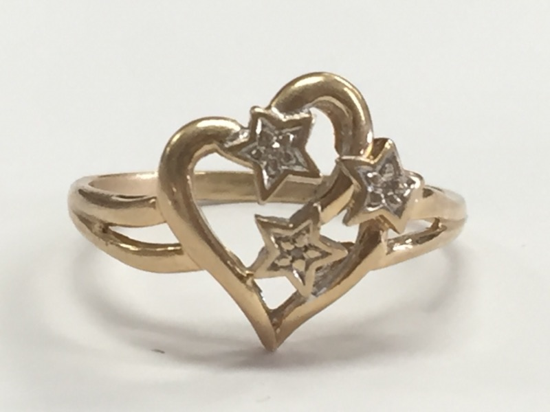 HEART & STARS DAZZLING DIAMOND 10K YELLOW GOLD RING SIZE 9.25
